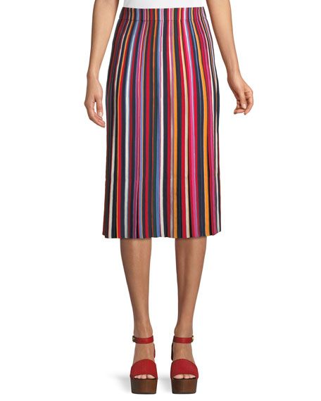 Ellis Multicoloured-Striped Midi Skirt in Red