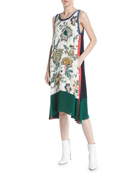 Screen-Print Drapey Tank Dress w/ Side Stripes & Snaps
