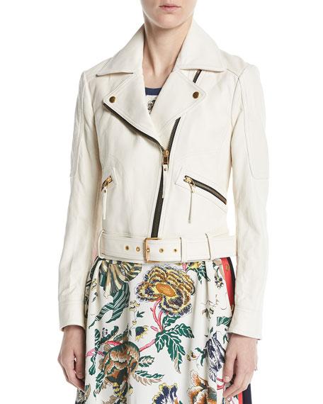 Bonded Lamb Leather Moto Jacket