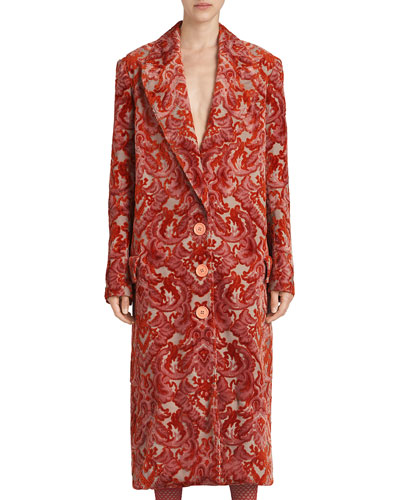 Single-Breasted Damask Velvet Jacquard Coat