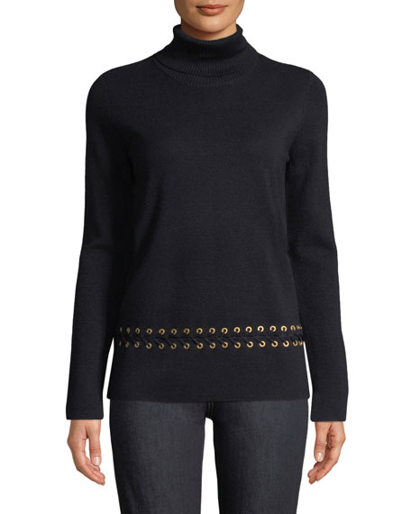 Turtleneck Sweater w/ Grommet Trim