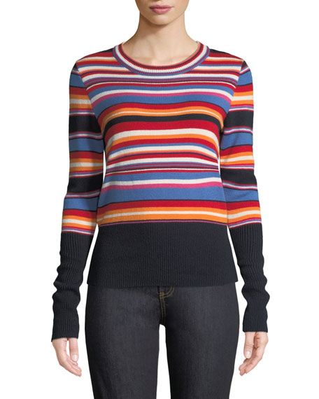 TORY BURCH Kit Multi-Striped Wool And Cashmere-Blend Sweater in Blue