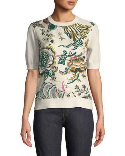 Silk-Print Merino Short-Sleeve Sweater