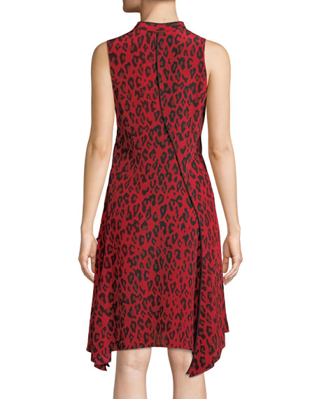 Sleeveless Bias-Cut Leopard-Print Silk Dress