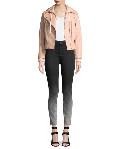 Good High-Rise Faded Skinny Jeans with Exposed Fly