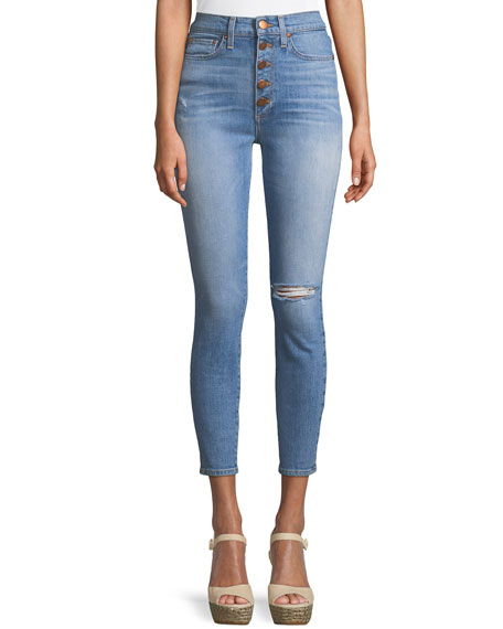 AO.LA by Alice+Olivia Good High-Rise Button-Fly Skinny Jeans