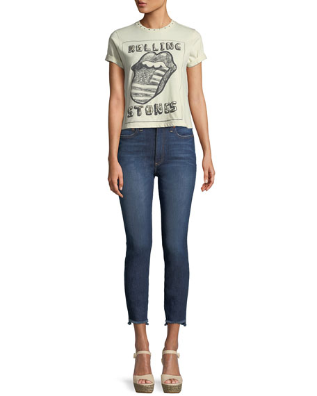 Good High-Rise Skinny Jeans with Staggered Hem