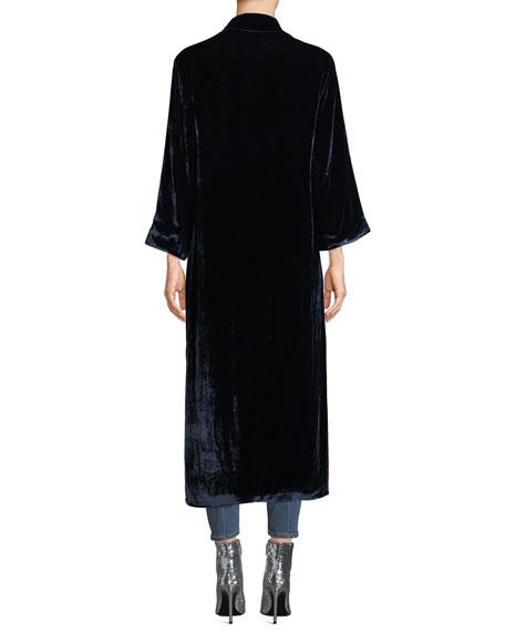 Lynn Velvet Side-Slit Long Kimono