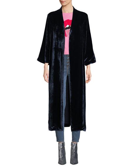 AO.LA by Alice+Olivia Lynn Velvet Side-Slit Long Kimono