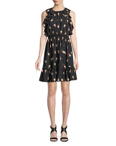 sleeveless pineapple-print dress
