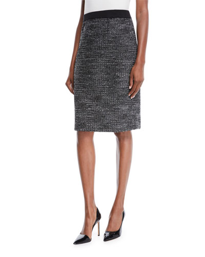 Tweed Knit Pencil Skirt, Petite