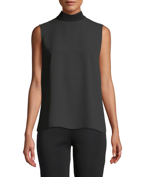 Sleeveless Mock-Neck Knit Mix Top