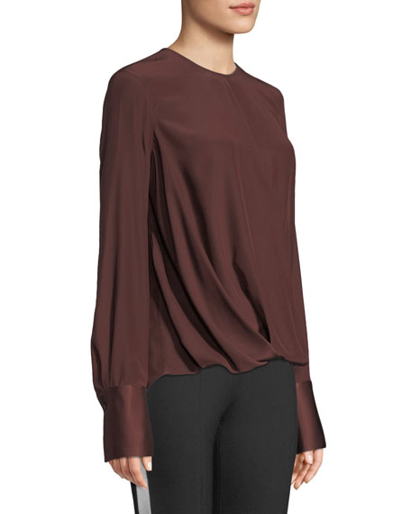 Max Long-Sleeve Silk Charmeuse Blouse