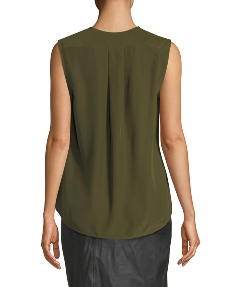 Victor Sleeveless Draped Silk Charmeuse Blouse