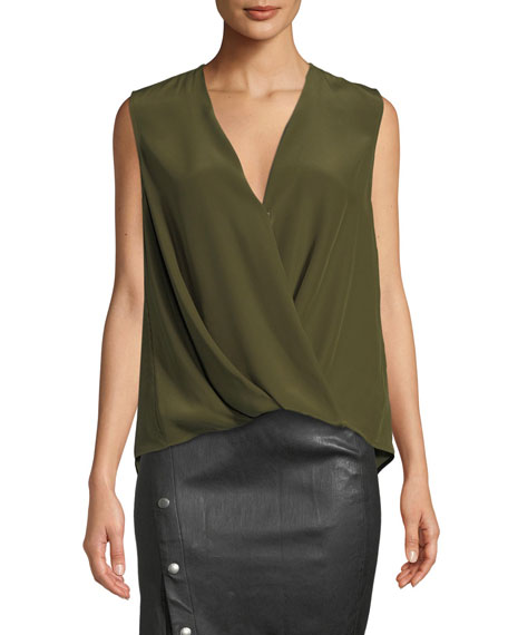 Rag & Bone Victor Sleeveless Draped Silk Charmeuse