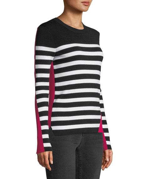 Cecilee Crewneck Striped Colorblock Pullover Sweater