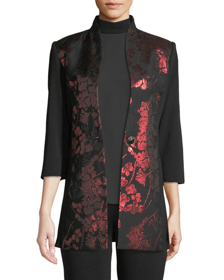 Misook Metallic Floral-Inset Jacket and Matching Items, Petite