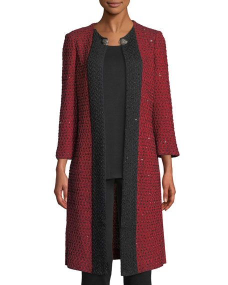 3/4-Sleeve Sparkle-Knit Long Jacket