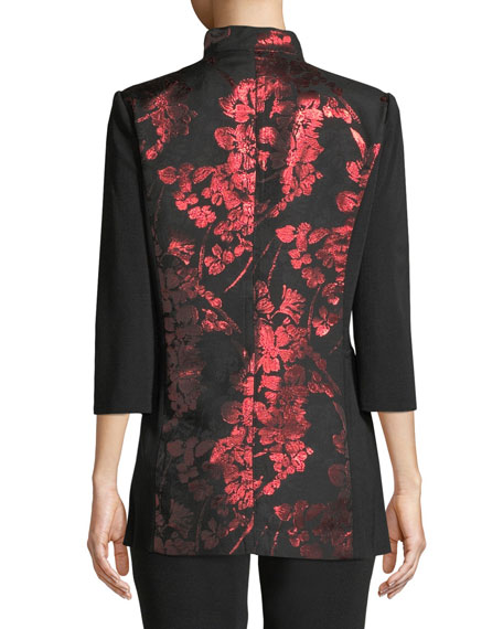 Metallic Floral-Inset Jacket