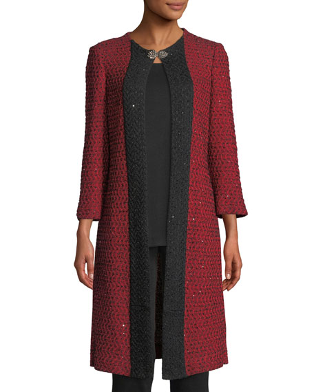 Misook 3/4-Sleeve Sparkle-Knit Long Jacket, Plus Size
