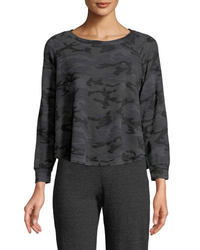 Trapeze Camo-Print Crewneck Sweatshirt