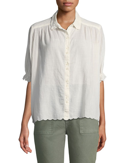 Kerchief Scalloped Button-Front Top