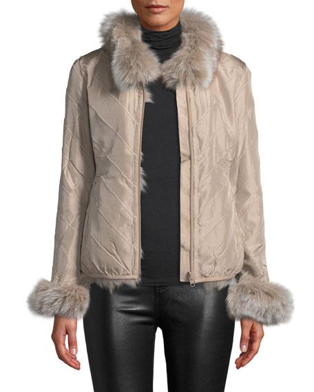 LA FIORENTINA Reversible Fur Jacket in Blush