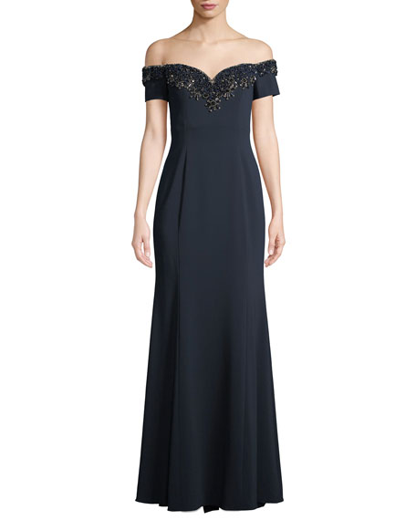 Badgley Mischka Collection Off-the-Shoulder Gown w/ Embellished