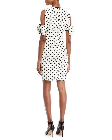 Karyn Polka-Dot Cold-Shoulder Dress w/ Bow Details