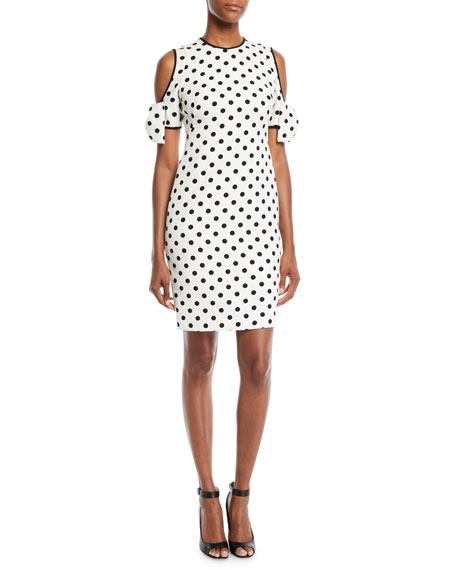 Black Halo Karyn Polka-Dot Cold-Shoulder Dress w/ Bow