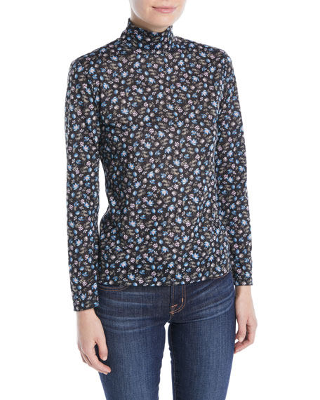 Zelma Floral Long-Sleeve Turtleneck Top