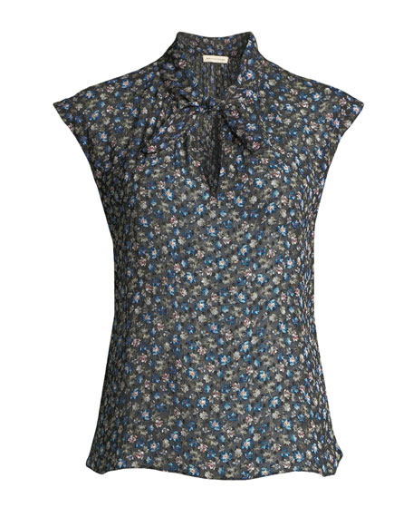 Zelma Cap-Sleeve Floral Button-Front Top
