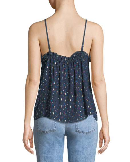V-Neck Sleeveless Speckled-Dot Print Silk Camisole