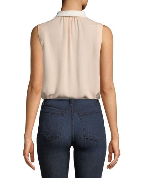 Bird-Embellished Collar Sleeveless Silk Top