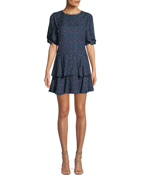 Rebecca Taylor Round-Neck Short-Sleeve Speckled-Dot Silk Mini
