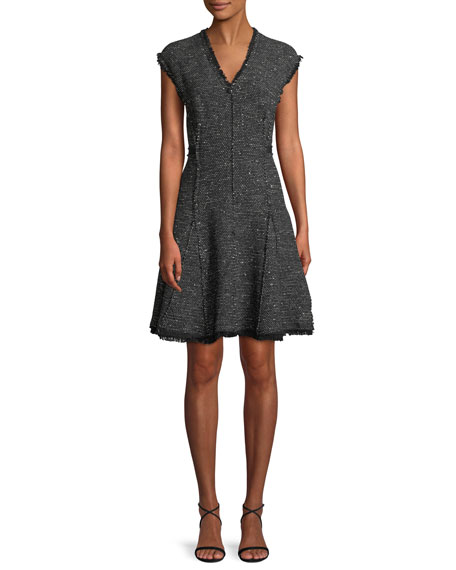 Sleeveless V-Neck Sparkle Tweed Fit-And-Flare Dress, Black