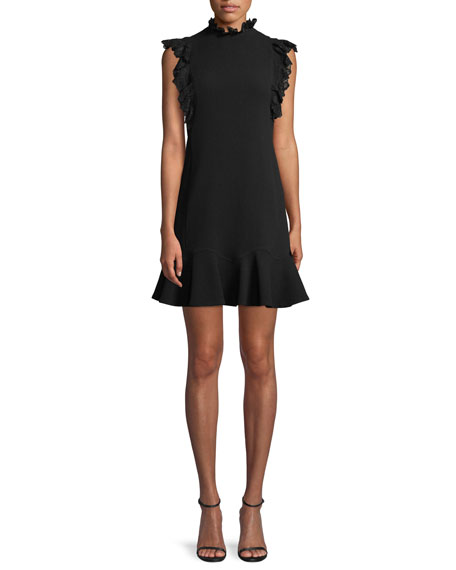 Sleeveless Moss Crepe A-Line Short Dress w/ Lace Trim