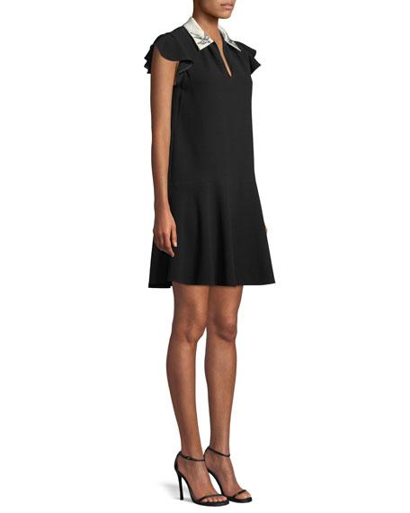 Sleeveless Bird-Embellished Collar Crepe A-Line Mini Dress