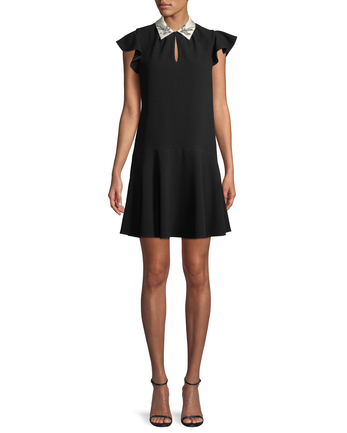 Rebecca Taylor Sleeveless Bird Embellished Collar Crepe A Line Mini