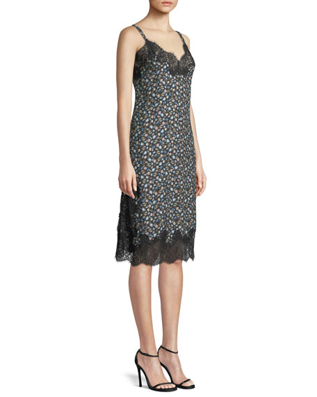 Zelma Sweetheart-Neck Sleeveless Floral-Print Slip Dress w/ Lace
