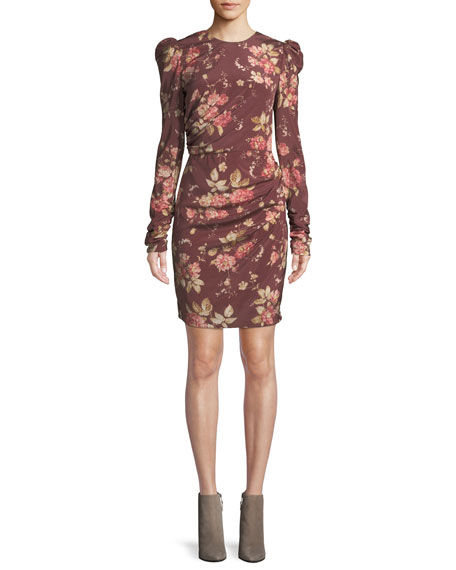 Draped Floral-Print Silk-Blend Crepe De Chine Mini Dress, Red Pattern