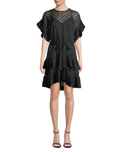 Tiered Polka-Dot Pleated Short Dress