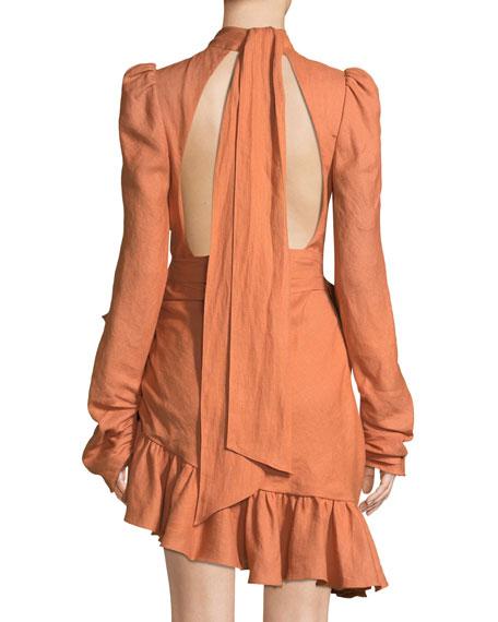 High-Neck Asymmetric Linen Flounce Mini Dress