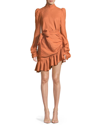 High-Neck Asymmetric Linen Flounce Mini Dress
