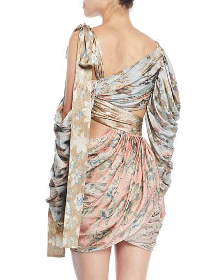 Elixir Wrapped Floral Silk Mini Dress
