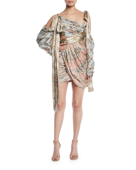 Zimmermann Elixir Wrapped Floral Silk Mini Dress