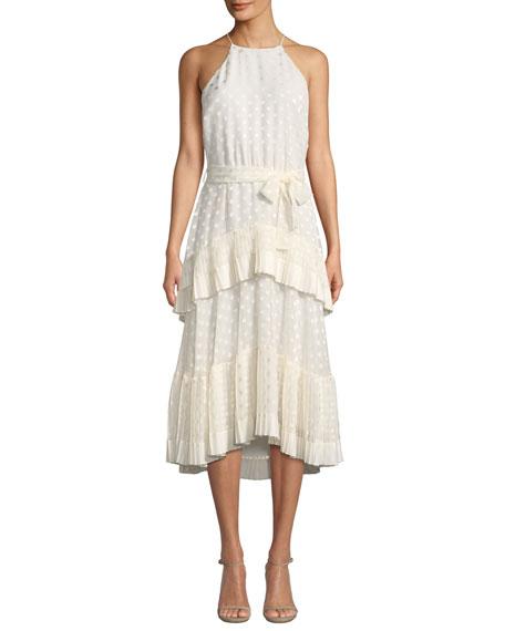 Zimmermann Pleated-Tier Ruffle Dot-Print Picnic Dress