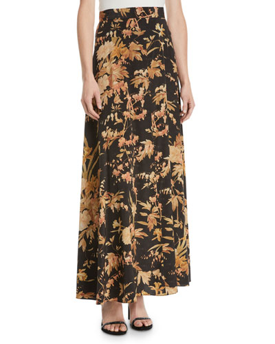Unbridled Basque Floral-Print Maxi Skirt