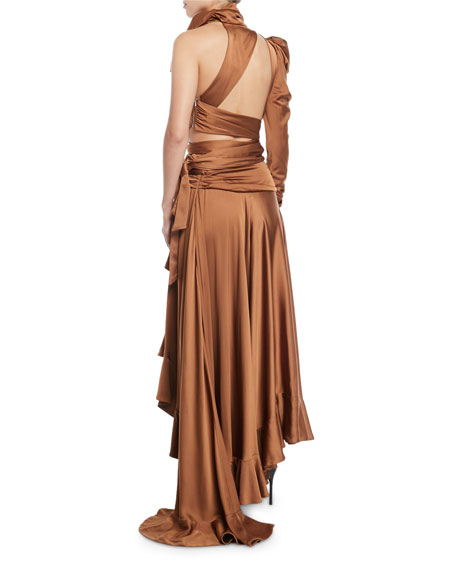 Valiant Ruched One-Shoulder High-Low Dress