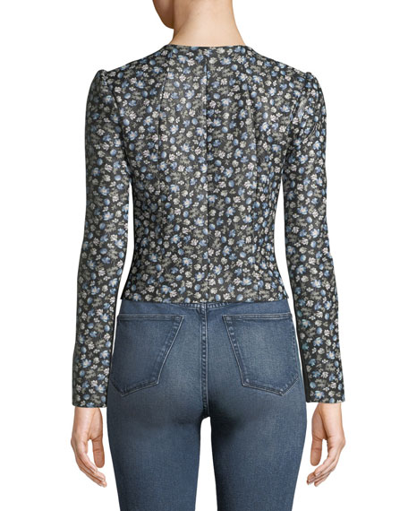 Zelma Zip-Front Floral-Print Lamb Leather Jacket